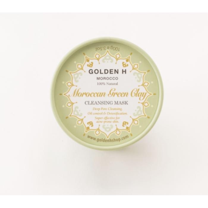 Golden H摩洛哥礦物綠泥控油排毒面膜100g +3ml 玫瑰油或堅果油試用裝