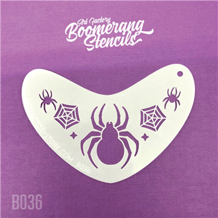 Spider Crown Boomerang Stencil by the Art Factory B036