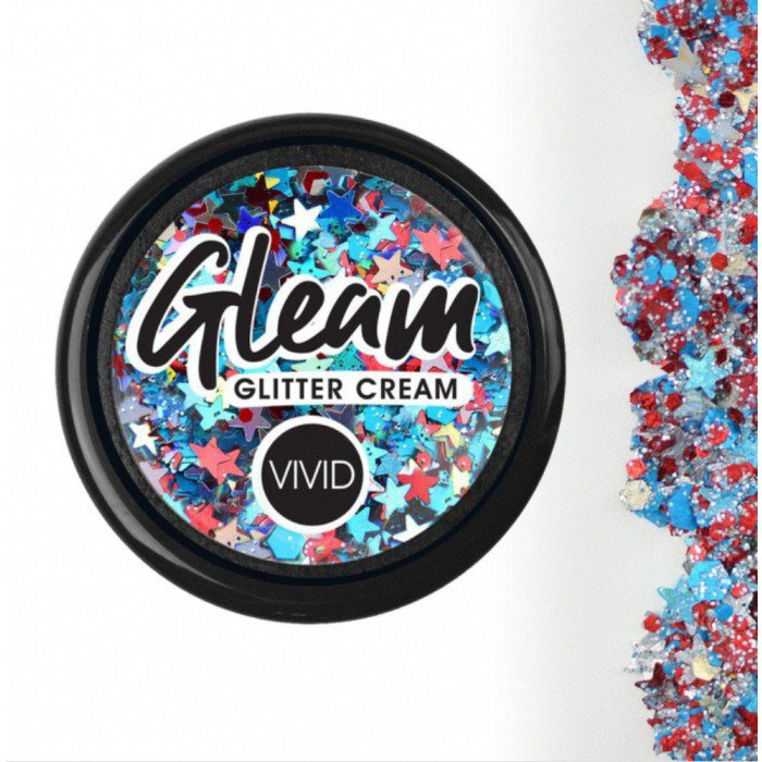 Vivid Glitter - Red White & Boom - Gleam Chunky Glitter Cream (10g /Base Jar)