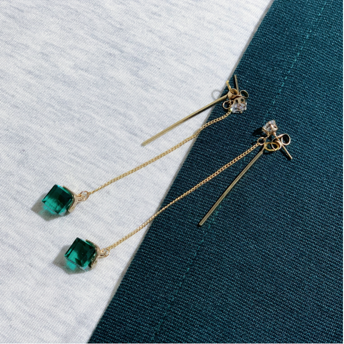 The Simplicity Green Cube Earrings