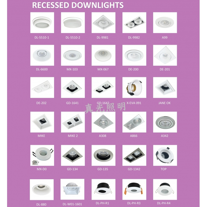 射燈目錄 天花射燈架 Recessed Light Frame Catalogue (GU10/MR16)