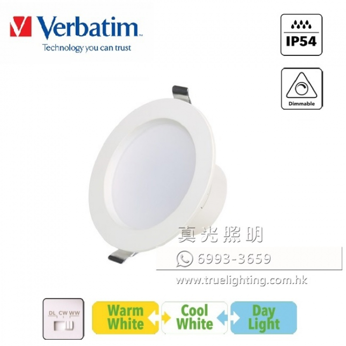 筒燈 (一體化/可調光) 10W LED Downlight By Verbatim