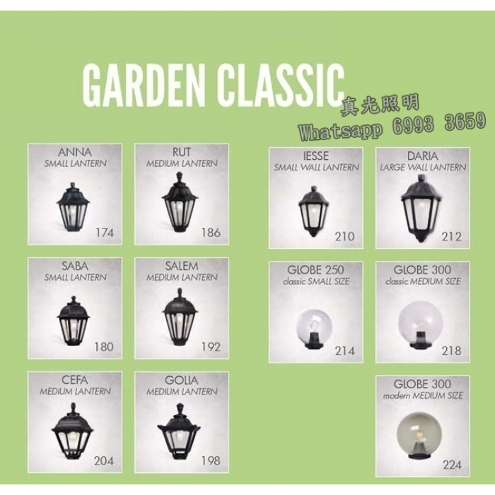 意大利花園燈 柱燈 屋仔燈 波燈(戶外防水) LED Garden Lighting