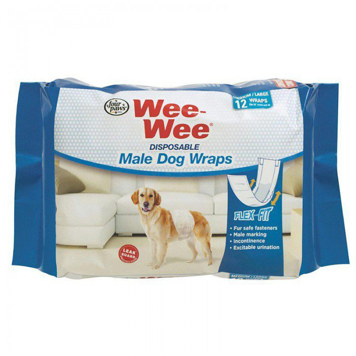 Four Paws Wee-Wee Diapers Medium (15-35 lbs)雄犬用即棄尿片(中碼) (12 Pads)